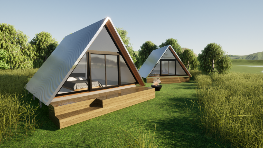 A-Frame Kit Cabin AirBnB by BRIbuild